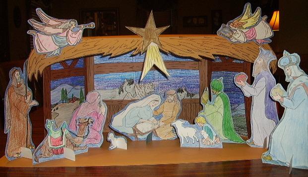 Nativity Stable Scene Kids Glitter