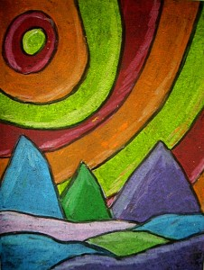 landscape in oil pastel kids amp glitter