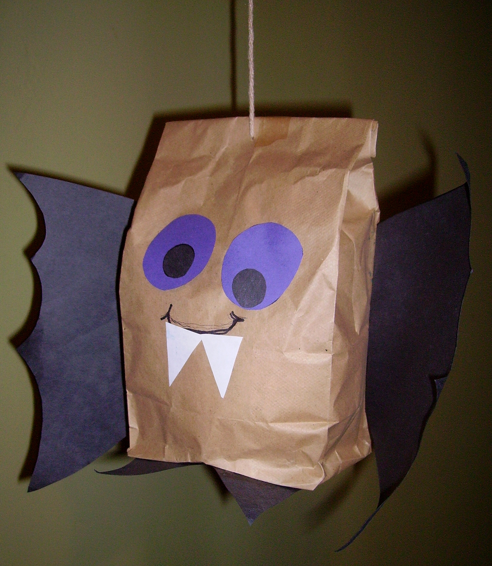 Brown paper bag bat kids glitter for Bag decoration ideas