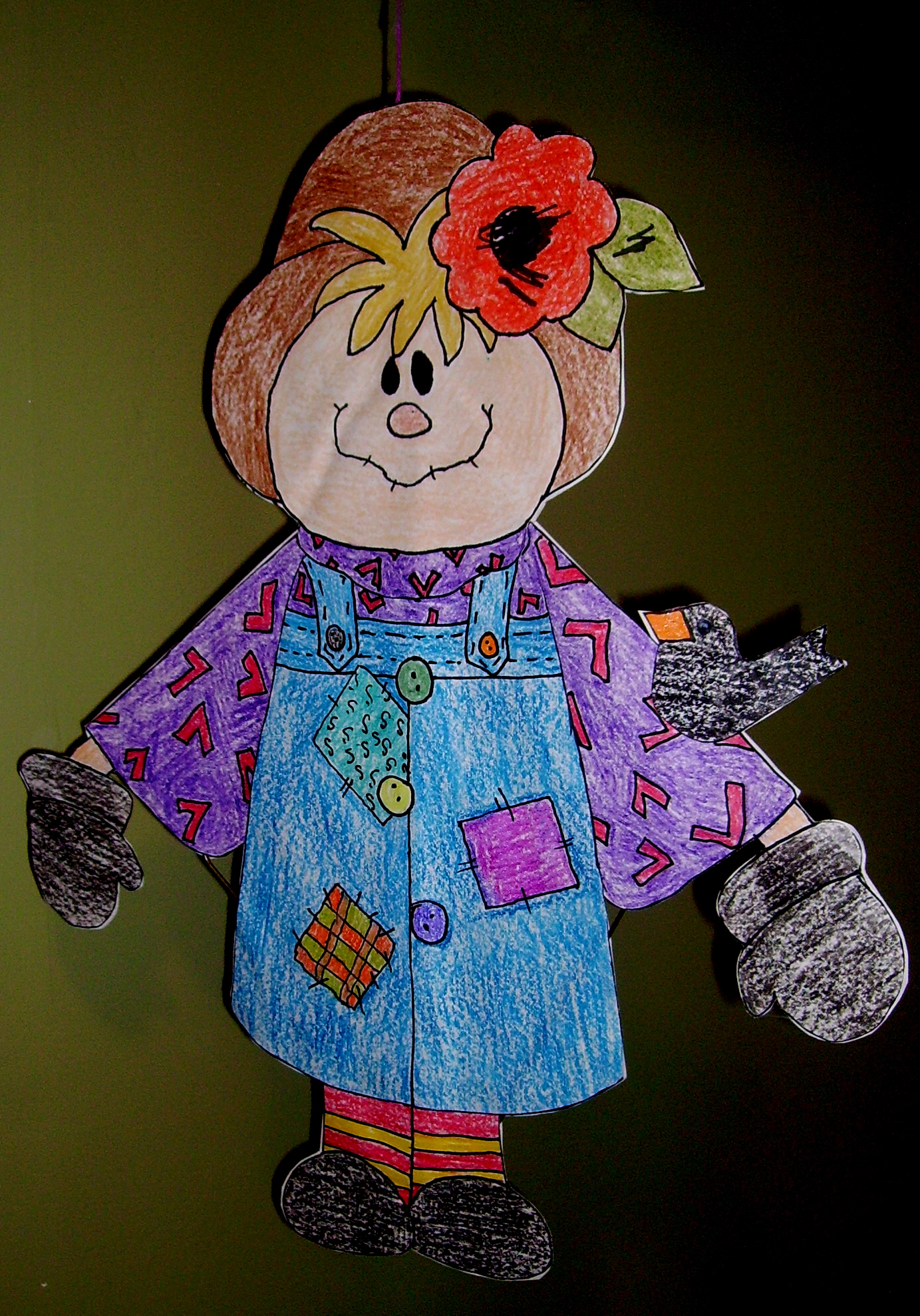 Hanging scarecrow kids glitter for Coat hanger art projects