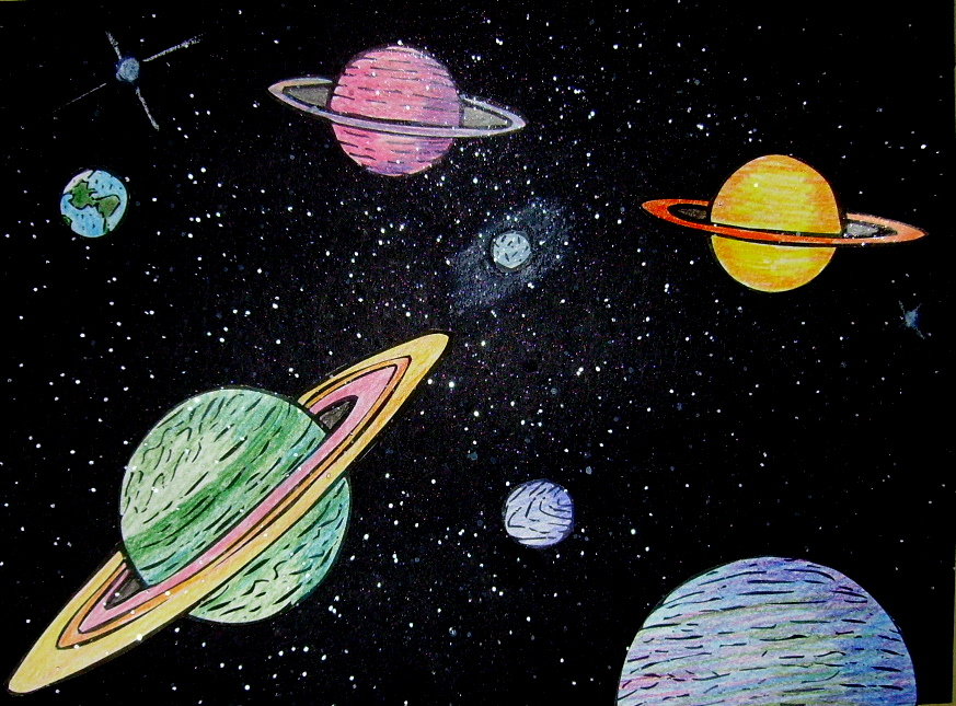 Image gallery outer space drawings for Outer painting design