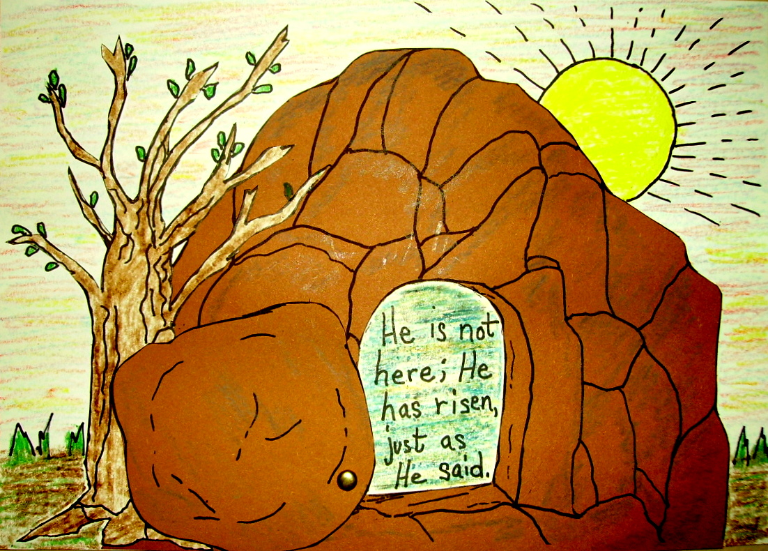 The empty tomb kids glitter for Jesus is alive craft ideas