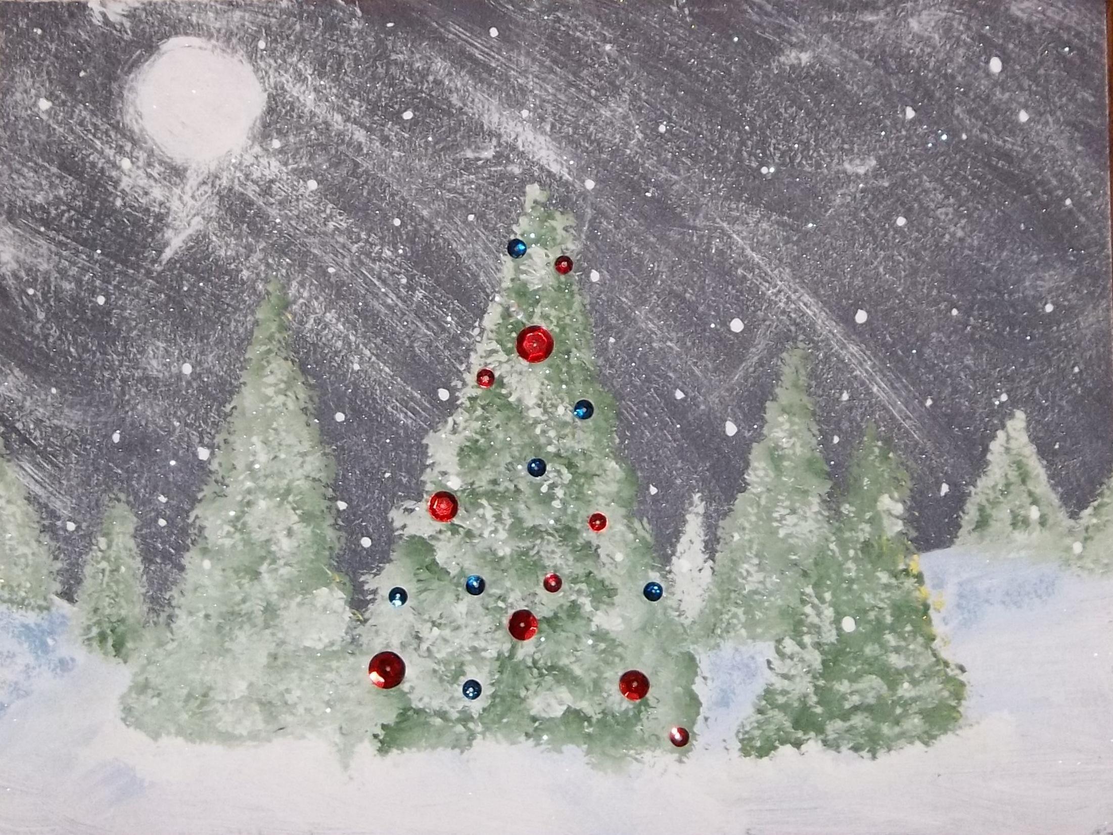 Oh christmas tree kids glitter for Christmas art painting ideas
