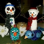 gallery-paper mache clay snowmen, bird and chick