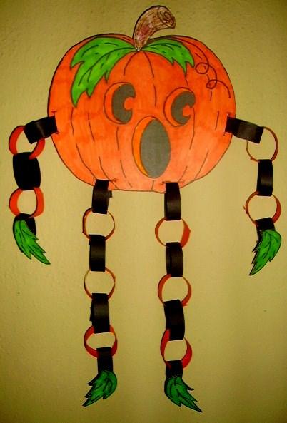 Halloween Craft Ideas For Kids 2nd Grade.Paper Chain Jack O Lantern Kids Glitter